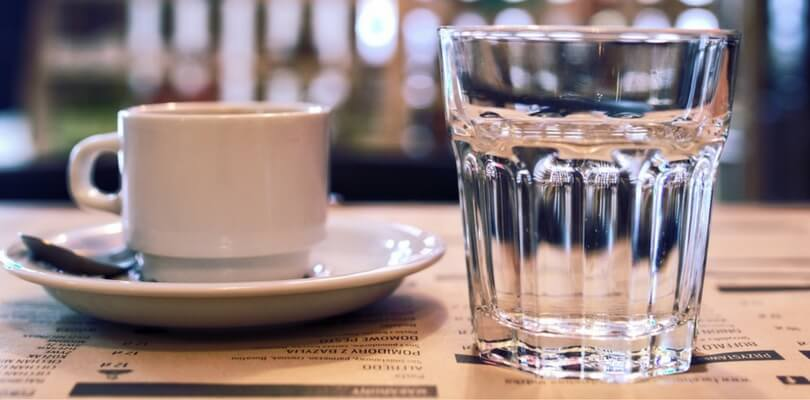 coffee and glass sparkling water